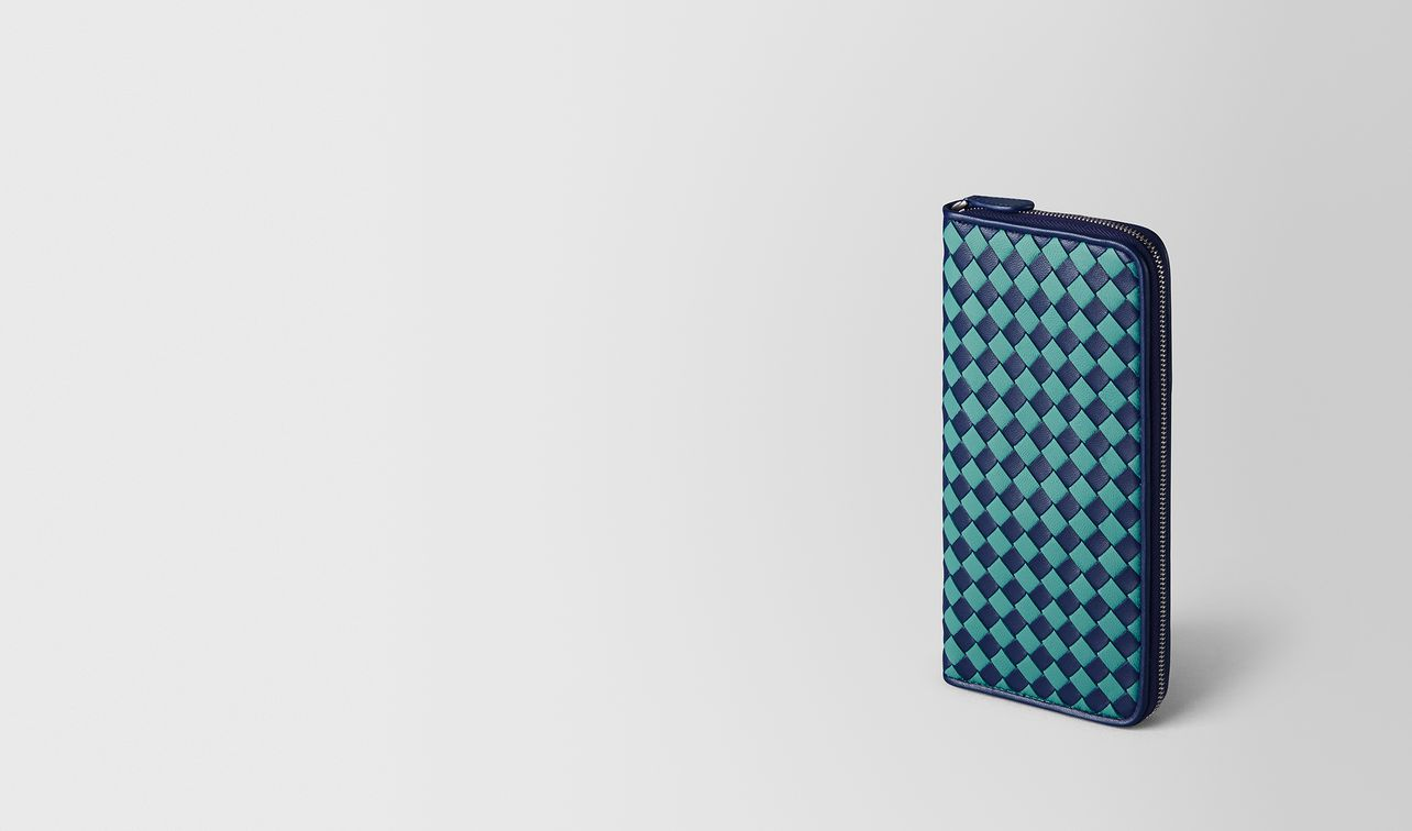 atlantic/aqua intrecciato checker zip around wallet landing