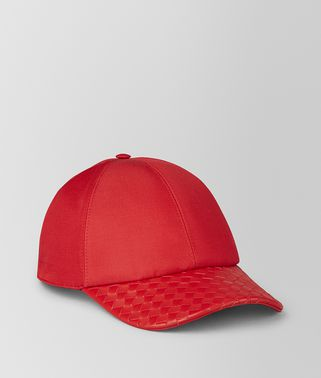CHAPEAU EN CUIR NAPPA/COTON CHINA RED