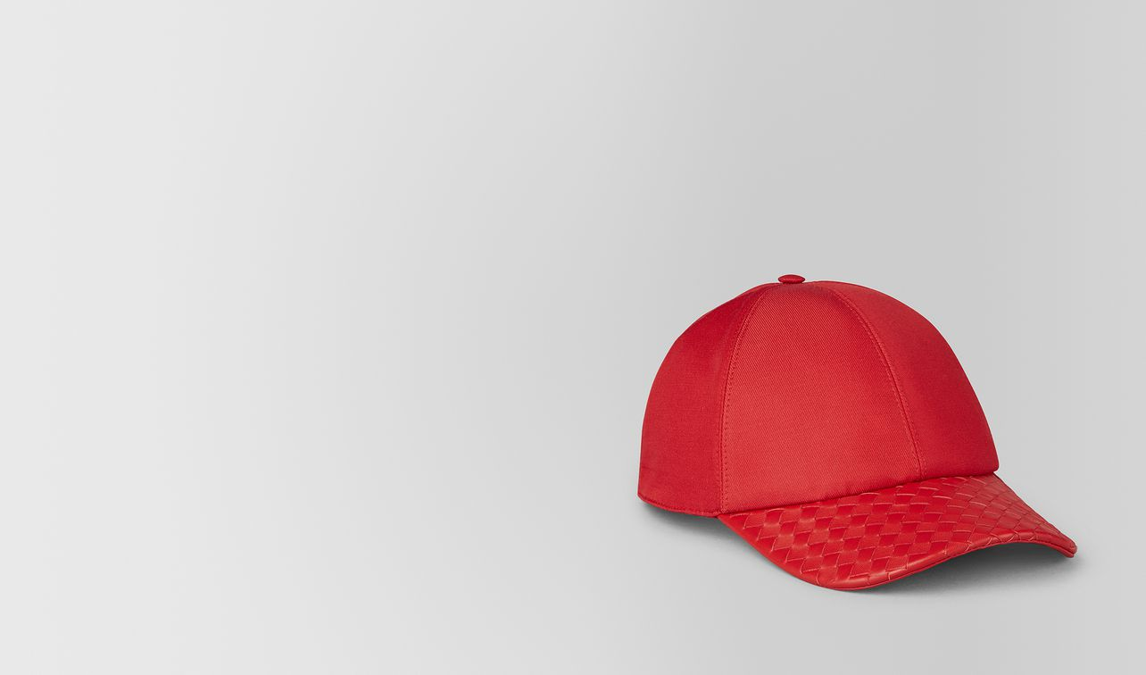 china red cotton/nappa hat landing