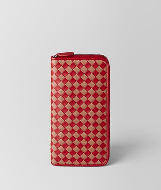CHINA RED/DAHLIA INTRECCIATO CHECKER ZIP AROUND WALLET