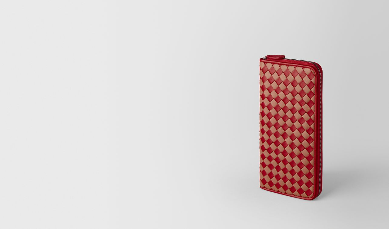 china red/dahlia intrecciato checker zip around wallet landing