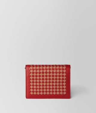 CHINA RED/DAHLIA INTRECCIATO CHECKER CHAIN WALLET