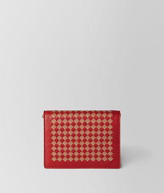 PORTAFOGLIO CON CATENA IN INTRECCIATO CHECKER CHINA RED/DAHLIA