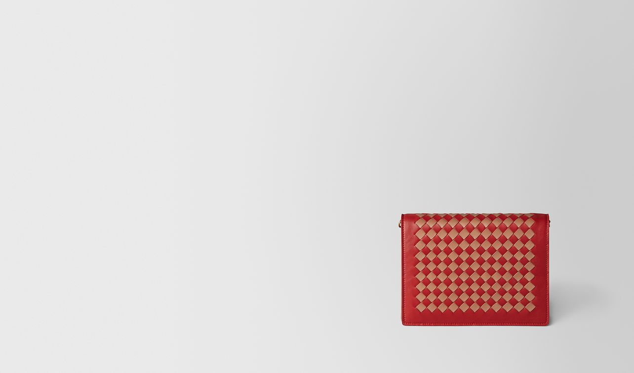 china red/dahlia intrecciato checker chain wallet landing