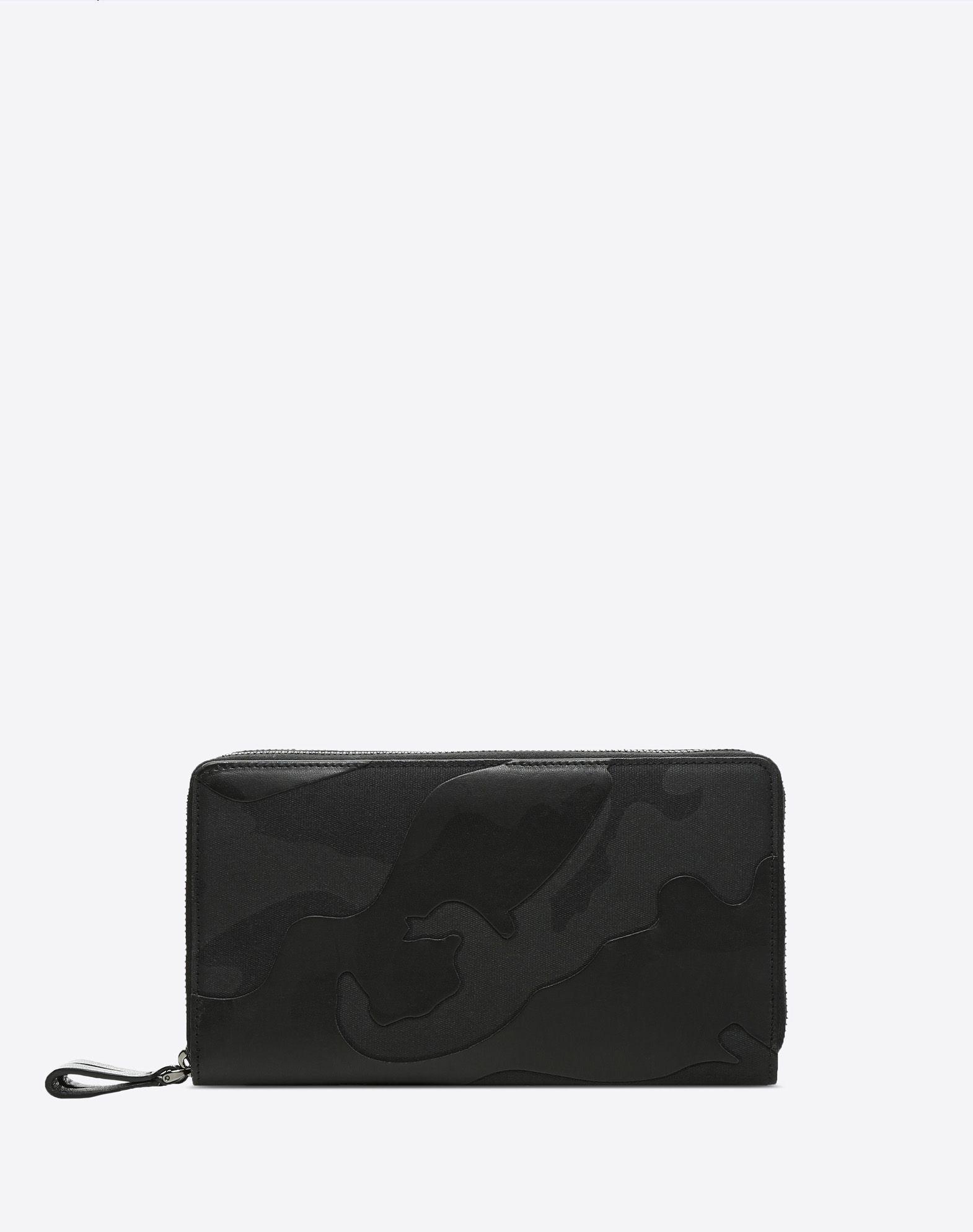 VALENTINO GARAVANI UOMO Camouflage Noir wallet ZIP AROUND WALLETS U f