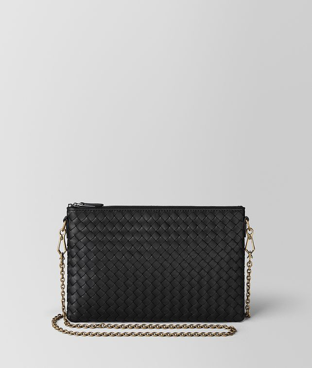 BOTTEGA VENETA NERO INTRECCIATO NAPPA BILETTO CHAIN CHAIN WALLET [*** pickupInStoreShipping_info ***] fp