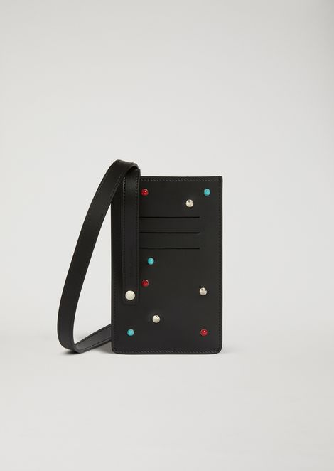 Leather cardholder with studs