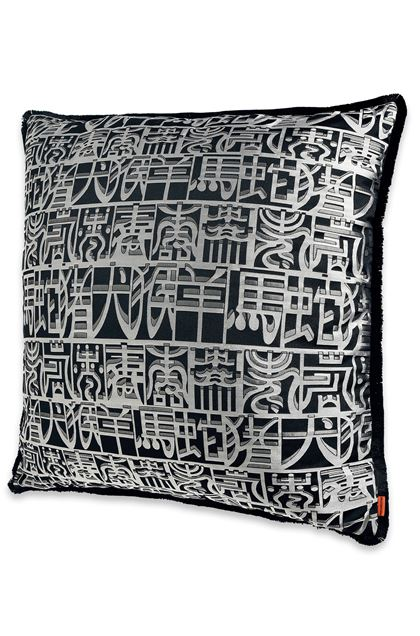 MISSONI HOME IDEOGRAMMA_SILK CUSHION Black E - Back