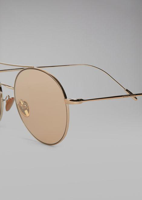 Солнцезащитные очки с круглой металлической оправой