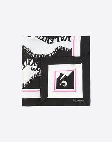 """VALENTINO Foulard D Silk twill foulard 90x90 cm / 35.4x35.4"""" f"""