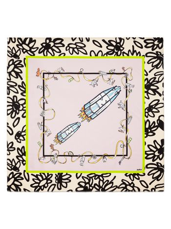 Marni Pink silk scarf with Frank Navin print Woman