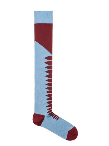 Marni Pale blue and burgundy diamond-patterned cotton socks  Woman