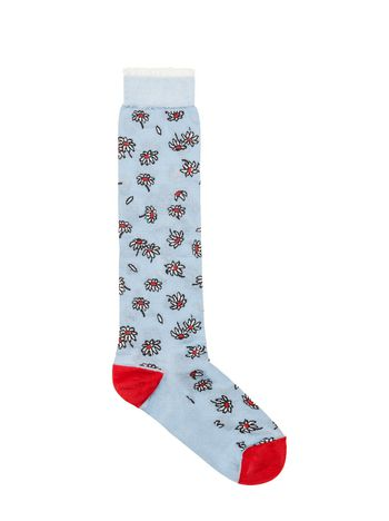Marni Pale blue floral-patterned silk socks  Woman