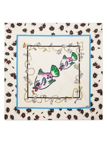 Marni White silk scarf with Frank Navin print Woman