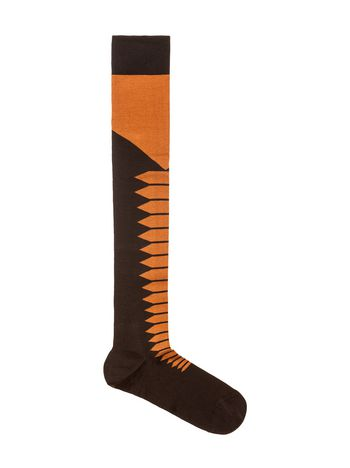 Marni Orange and black diamond-patterned cotton socks  Woman