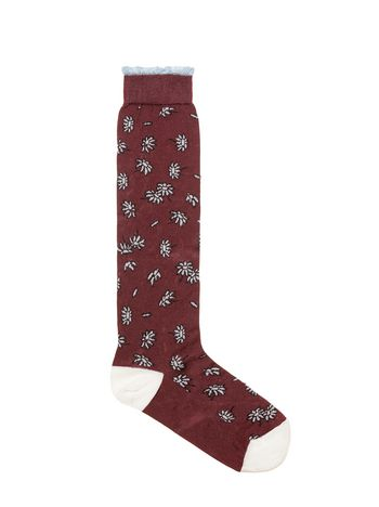Marni Burgundy floral-patterned silk socks  Woman