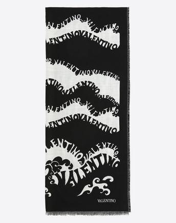 "VALENTINO Shawl D Silk and cashmere stole 70x180 cm / 27.6x70.9""  f"