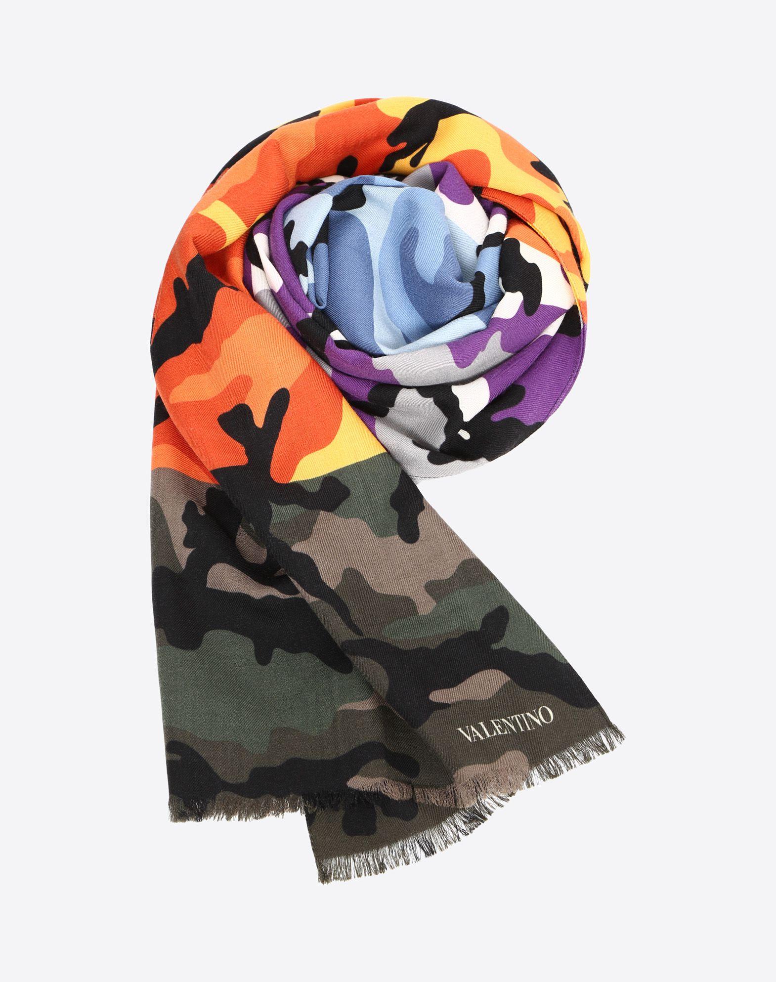 VALENTINO Gauze Fringe Logo Camouflage  46588907fr