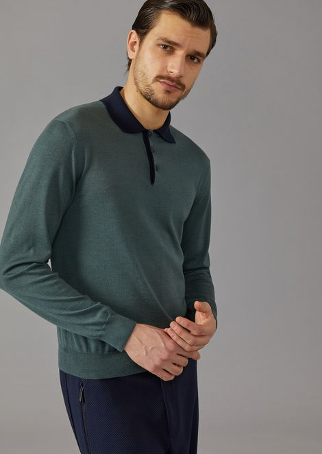 Polo shirt in knit cashmere and silk