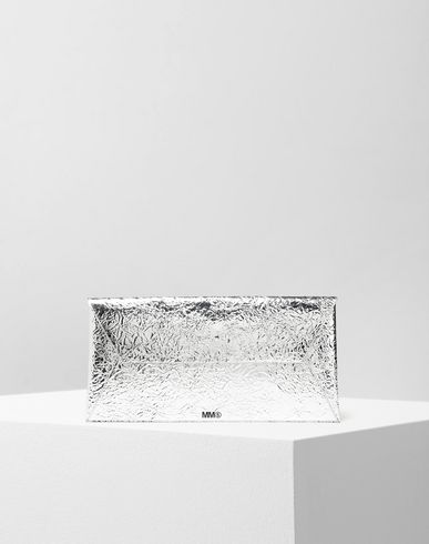 MM6 MAISON MARGIELA Silver crinkled leather envelope clutch Wallet [*** pickupInStoreShipping_info ***] f