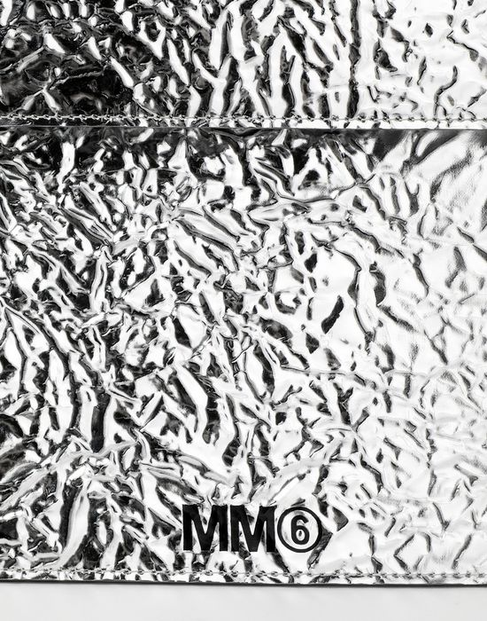 MM6 MAISON MARGIELA Silver crinkled leather envelope clutch Wallet [*** pickupInStoreShipping_info ***] a