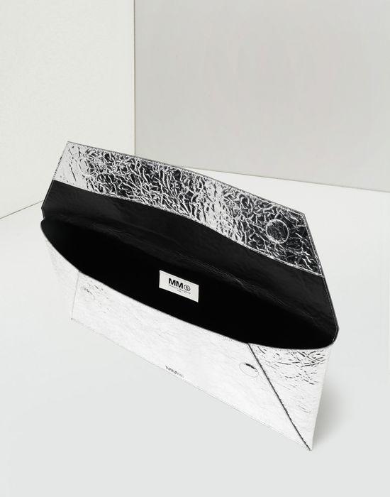 MM6 MAISON MARGIELA Silver crinkled leather envelope clutch Wallet [*** pickupInStoreShipping_info ***] d