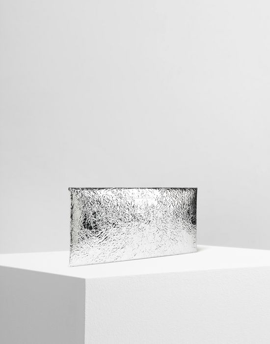 MM6 MAISON MARGIELA Silver crinkled leather envelope clutch Wallet [*** pickupInStoreShipping_info ***] r