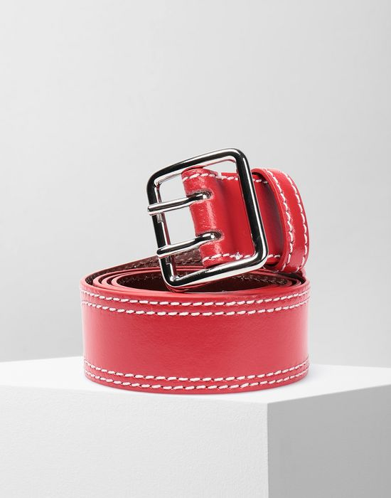 MM6 MAISON MARGIELA Embroidered leather buckled belt Belt [*** pickupInStoreShipping_info ***] f