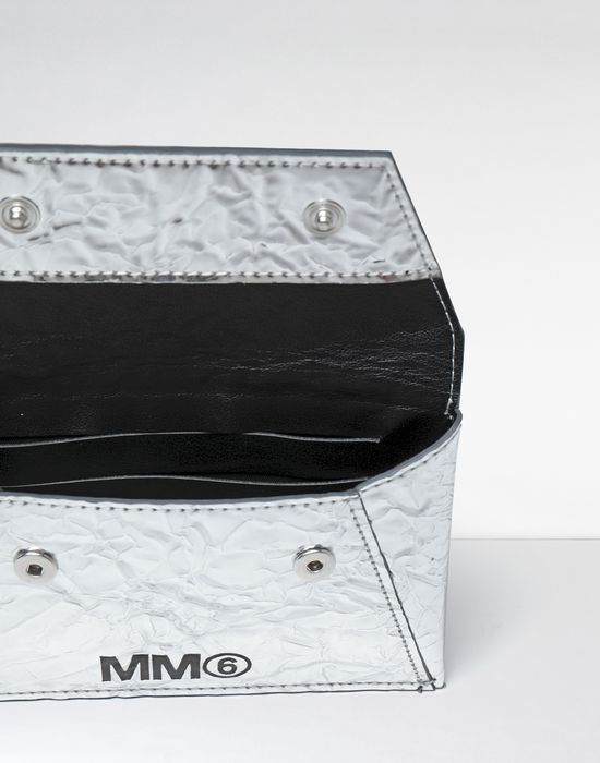 MM6 MAISON MARGIELA Silver crinkled leather cardholder wallet Wallet [*** pickupInStoreShipping_info ***] a