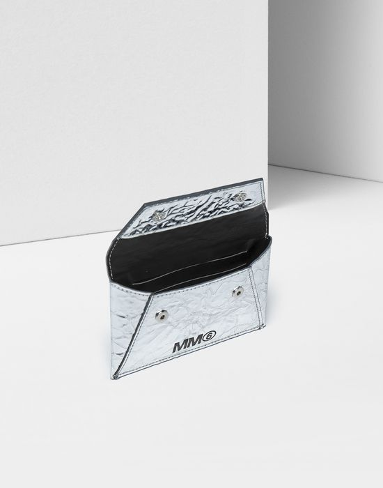MM6 MAISON MARGIELA Silver crinkled leather cardholder wallet Wallet [*** pickupInStoreShipping_info ***] d
