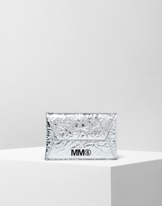 MM6 MAISON MARGIELA Silver crinkled leather cardholder wallet Wallet [*** pickupInStoreShipping_info ***] f