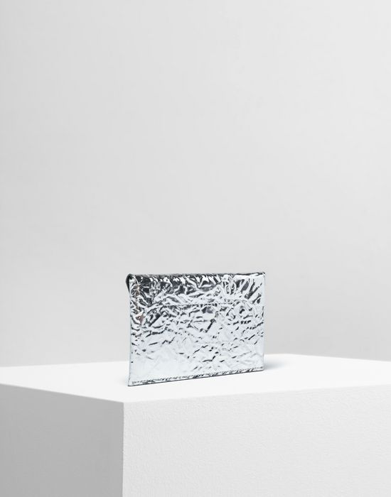MM6 MAISON MARGIELA Silver crinkled leather cardholder wallet Wallet [*** pickupInStoreShipping_info ***] r