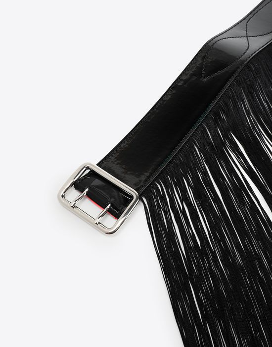 MM6 MAISON MARGIELA Shiny black hardware belt Belt [*** pickupInStoreShipping_info ***] d