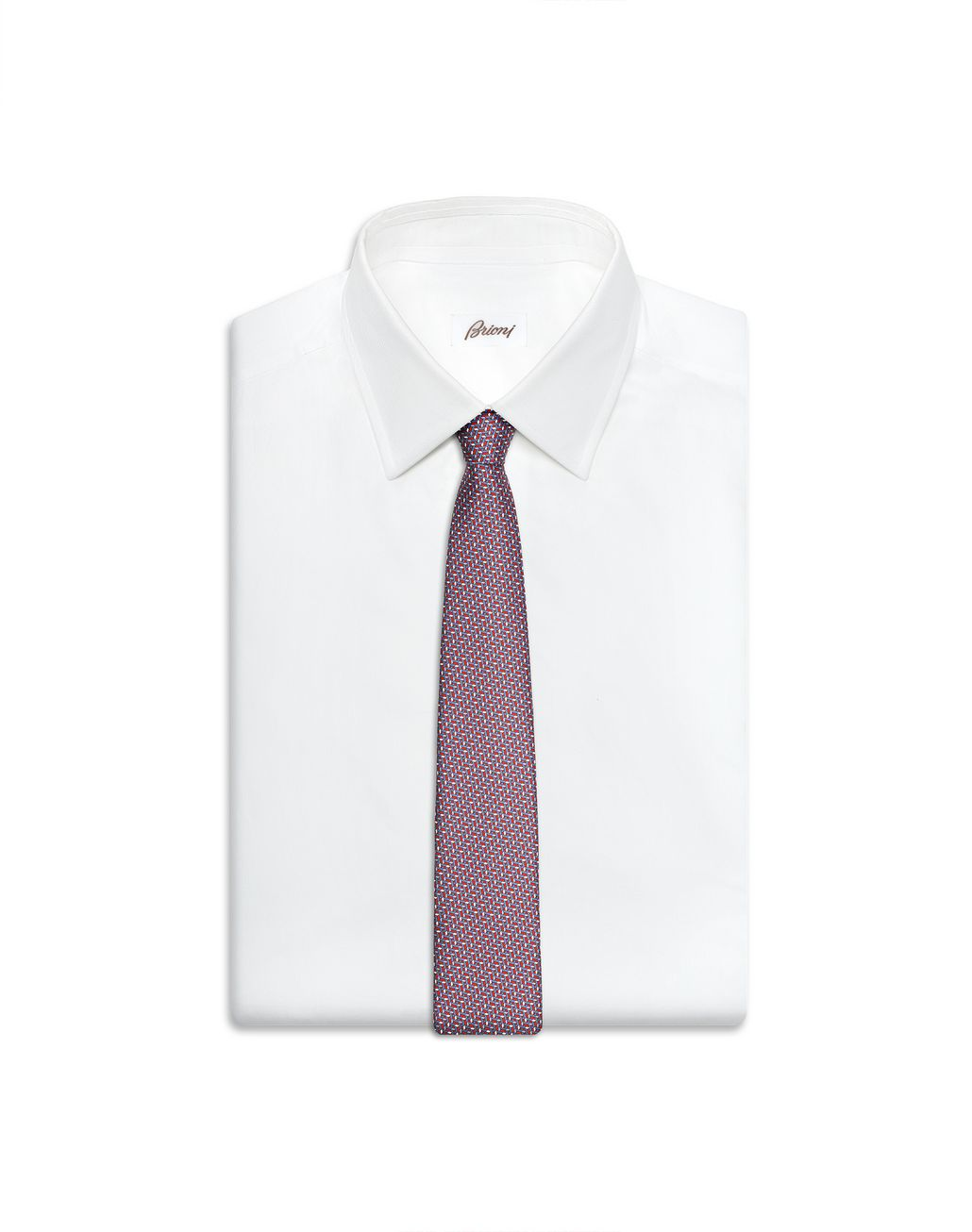 BRIONI Bluette and Red Micro Design Tie Tie Man d