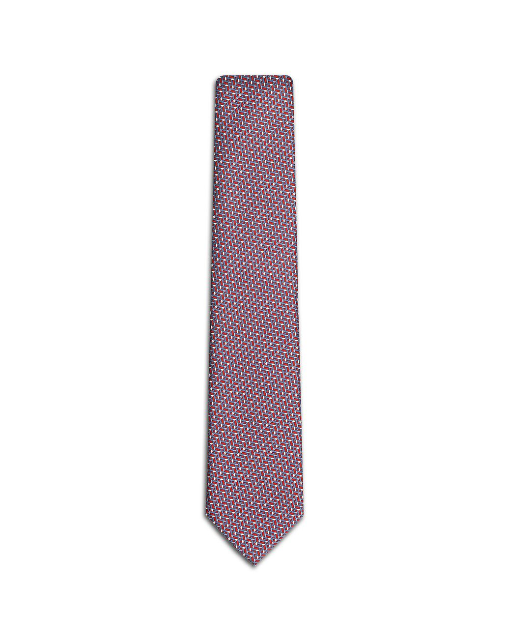 BRIONI Bluette and Red Micro Design Tie Tie Man f