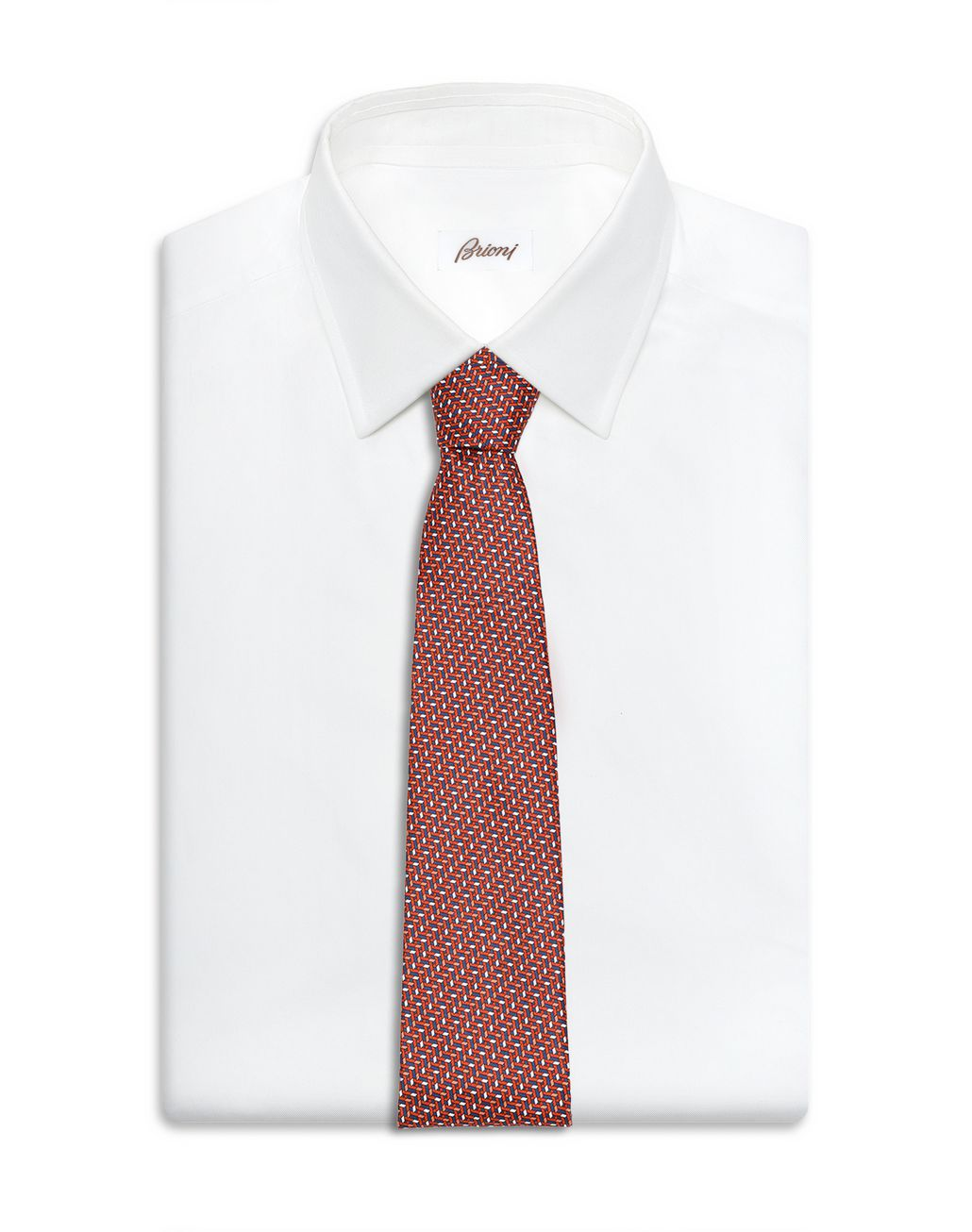 BRIONI Orange and Navy Blue Micro Design Tie Tie Man d