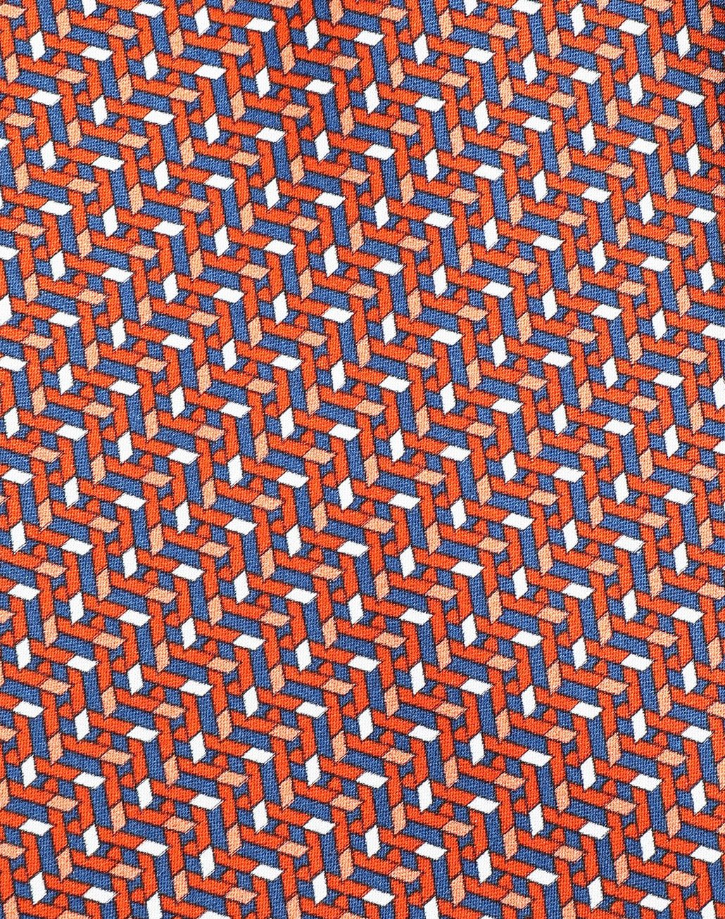 BRIONI Orange and Navy Blue Micro Design Tie Tie Man e