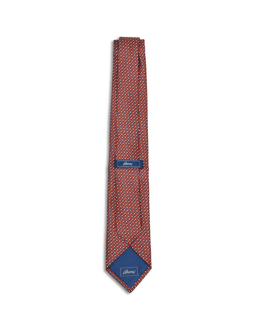 BRIONI Orange and Navy Blue Micro Design Tie Tie Man r