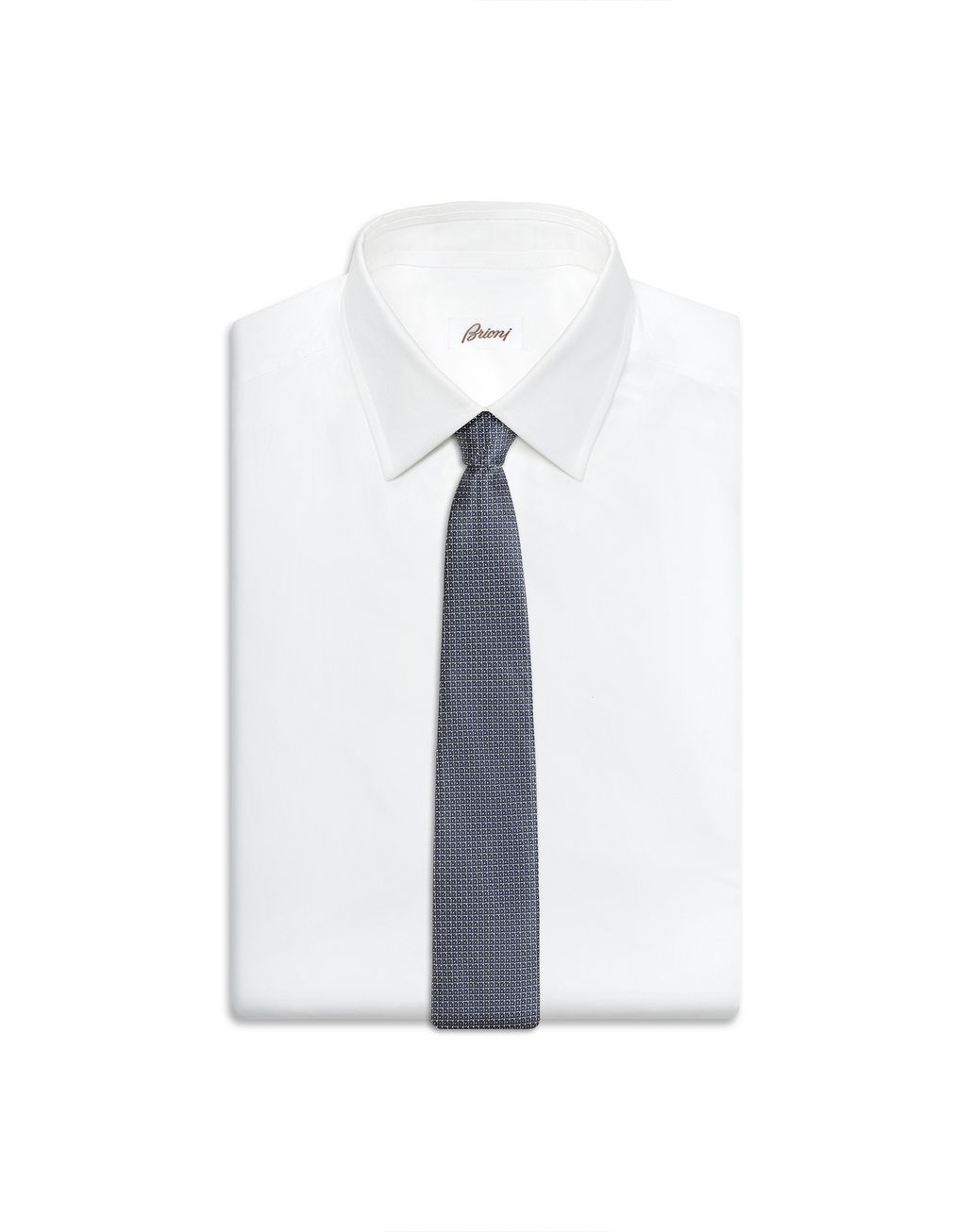 BRIONI Bluette and Grey Micro Design Tie Tie Man d