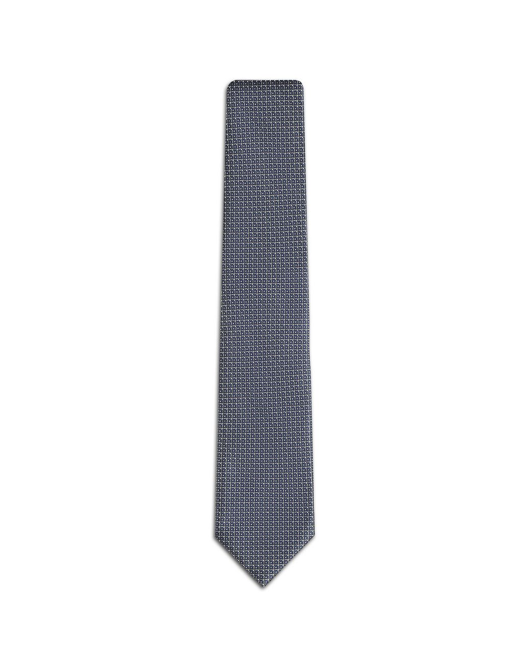 BRIONI Bluette and Grey Micro Design Tie Tie Man f