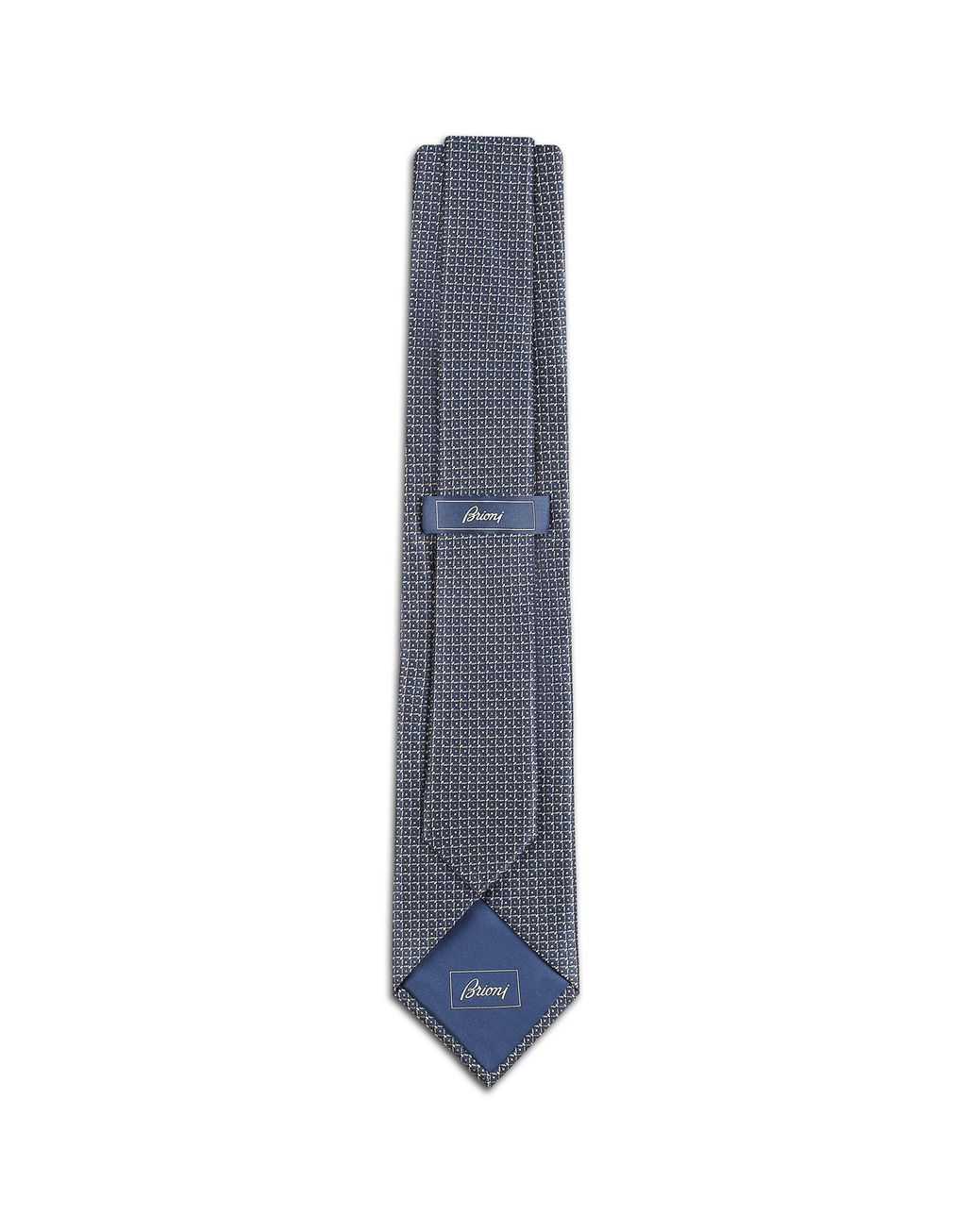 BRIONI Bluette and Grey Micro Design Tie Tie [*** pickupInStoreShippingNotGuaranteed_info ***] r