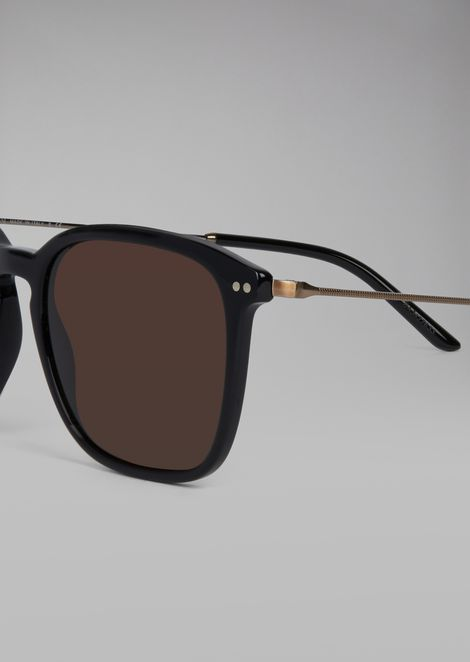 Sunglasses with dual material frame