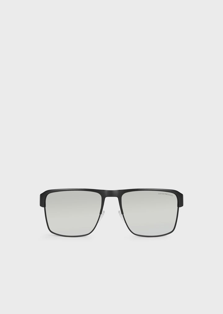 EMPORIO ARMANI Rectangular sunglasses with branded nose pads and temples Sunglasses Man f