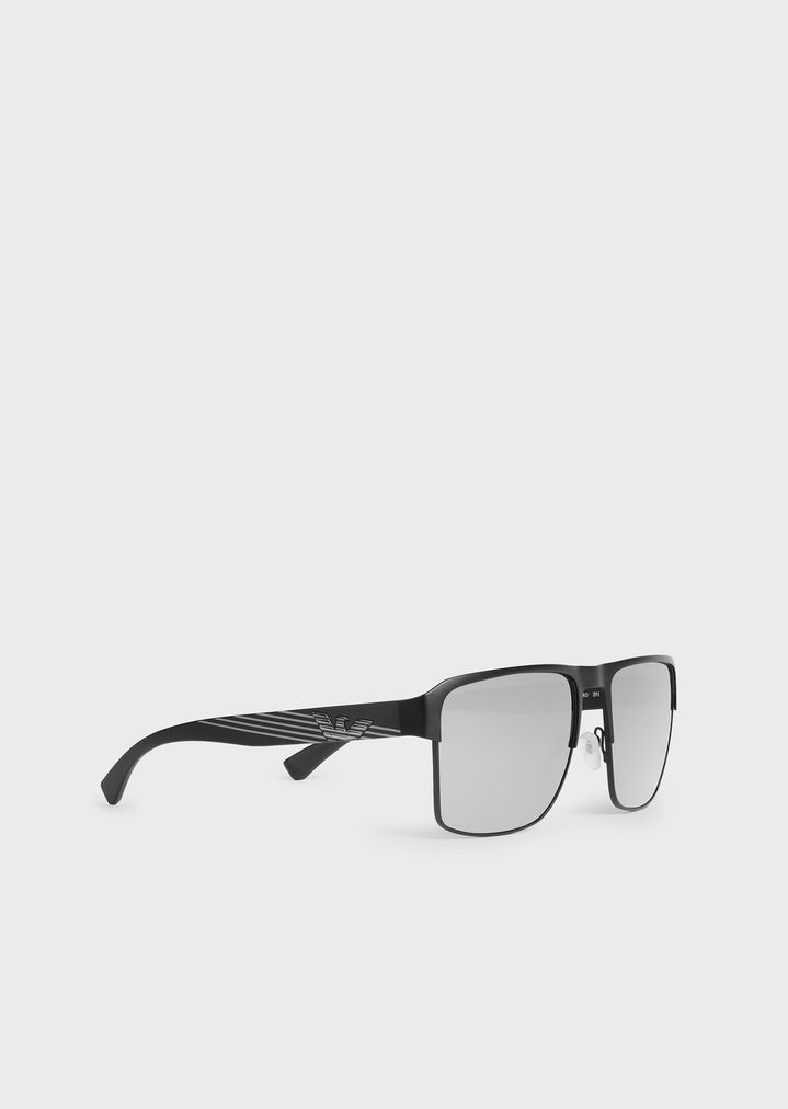 EMPORIO ARMANI Rectangular sunglasses with branded nose pads and temples Sunglasses Man r