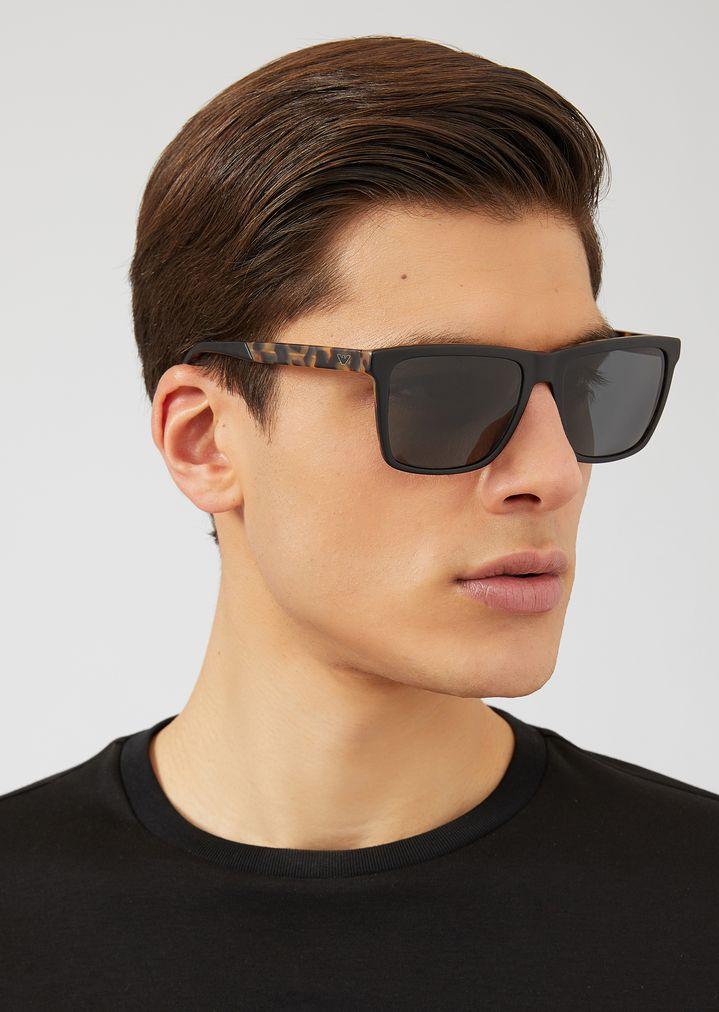 EMPORIO ARMANI Sunglasses with tortoiseshell temples Sunglasses Man a