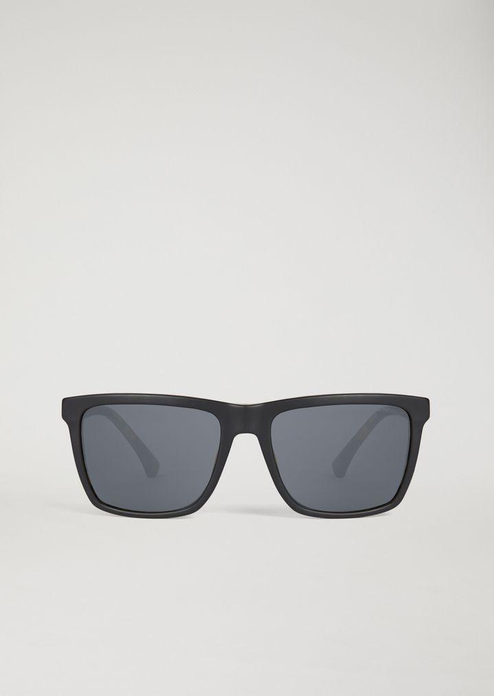 EMPORIO ARMANI Sunglasses with tortoiseshell temples Sunglasses Man r