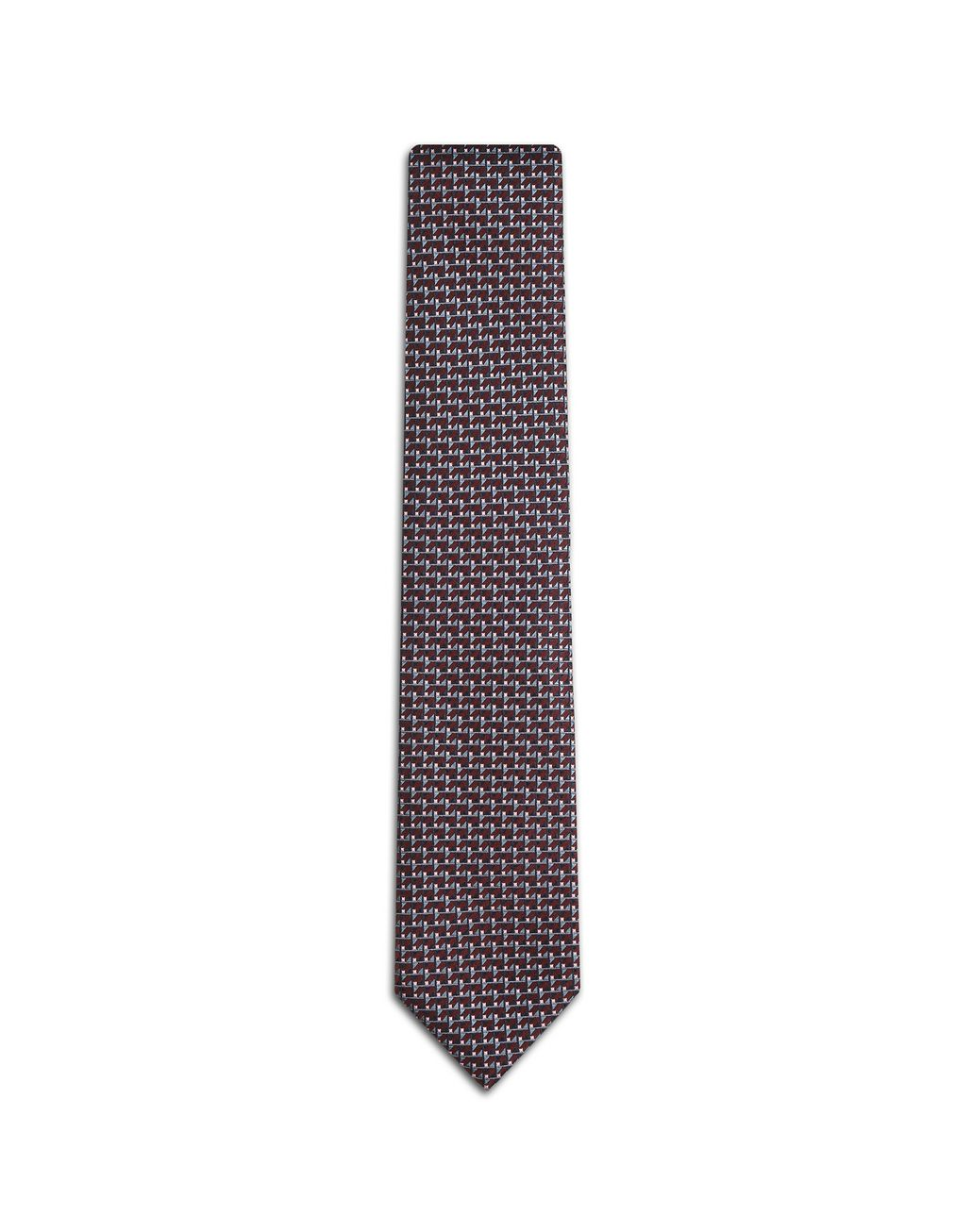 BRIONI Bordeaux and Navy Blue Micro Design Tie Tie Man f