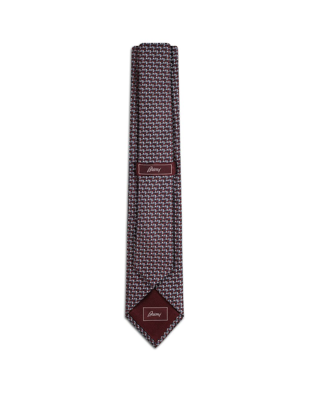 BRIONI Bordeaux and Navy Blue Micro Design Tie Tie Man r