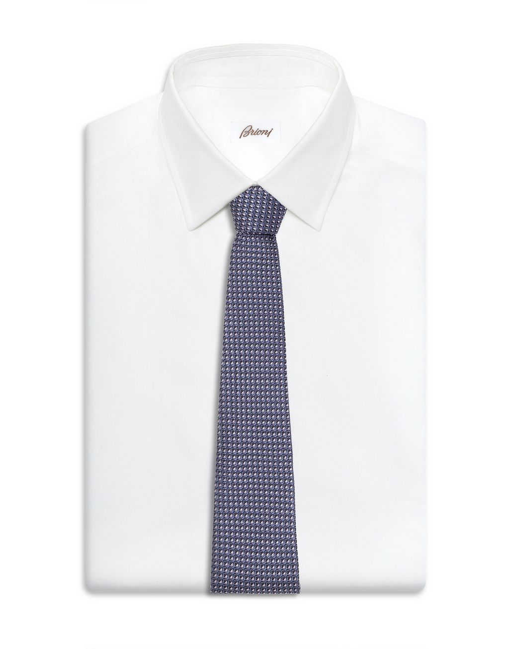 BRIONI Dark Purple and Navy Blue Micro Design Tie Tie Man d