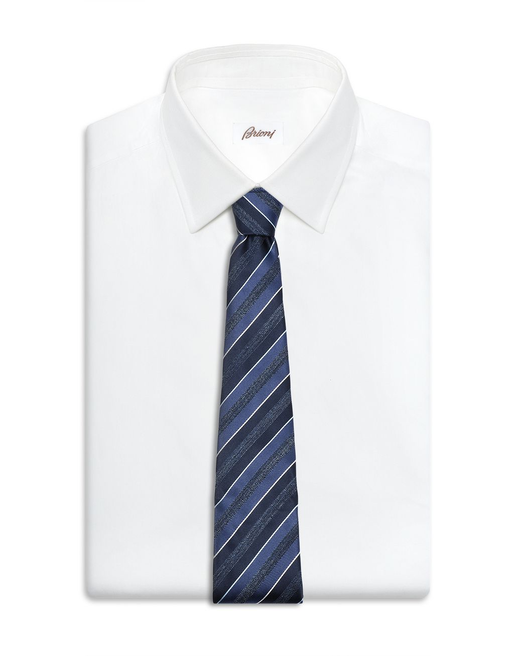 BRIONI Midnight Blue and Royal Blue Regimental Tie Tie Man d
